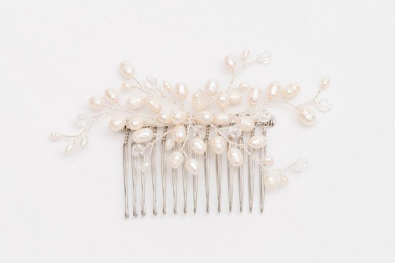 ivory knot-wedding hair comb-benita-pearl