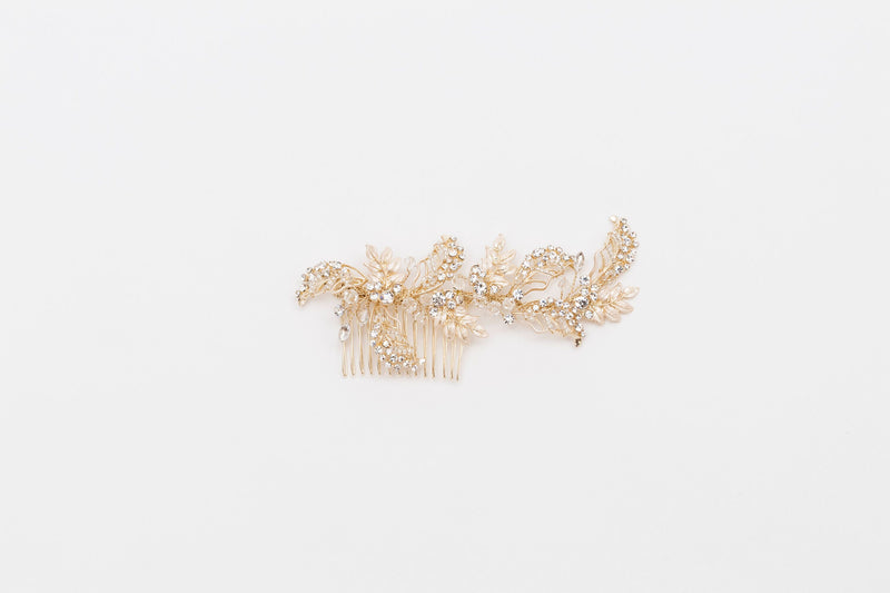 ivory knot-bridal hair combs-belle gold