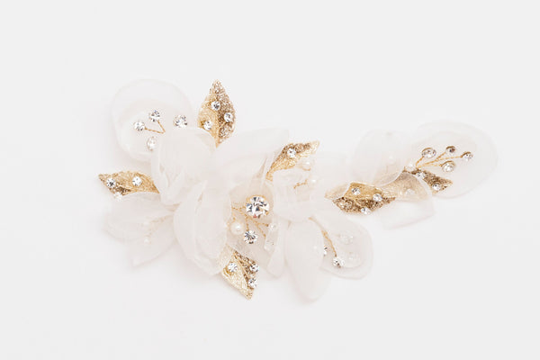 ivory knot-wedding hair clips-dee-gold-floral