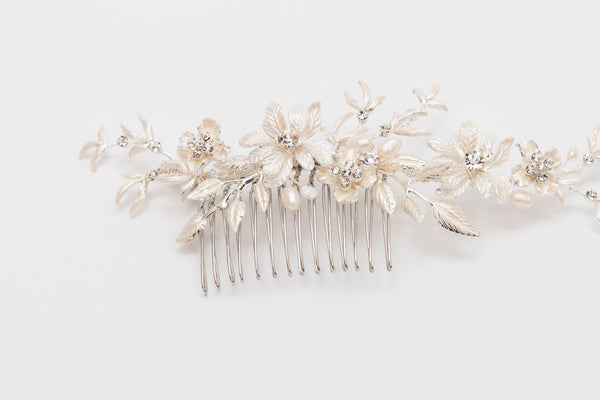 ivory knot-bridal hair accessories-wedding hair comb-xavier