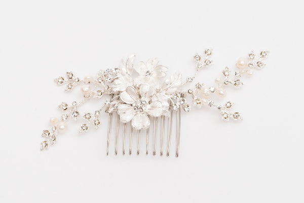 ivory knot-wedding hair combs-anita bridal accessory