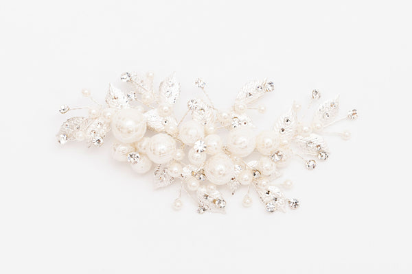 ivory knot-wedding hair clips-pearl bridal accessories-vera