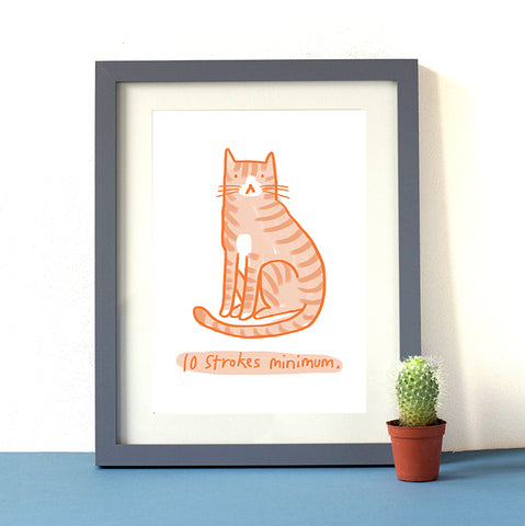 10 Strokes Minimum Ginger Cat Print
