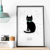 10 Strokes Black Cat Print