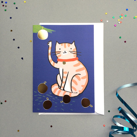 Cat and baubles Foiled Christmas Card