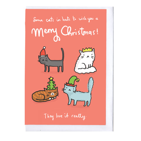 Cats in Hats Christmas Card