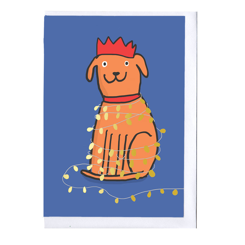 Dog and lights Foiled Christmas Card