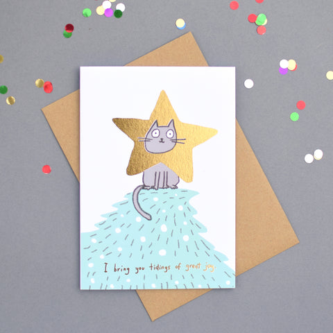 Cat Star Foiled Christmas Card