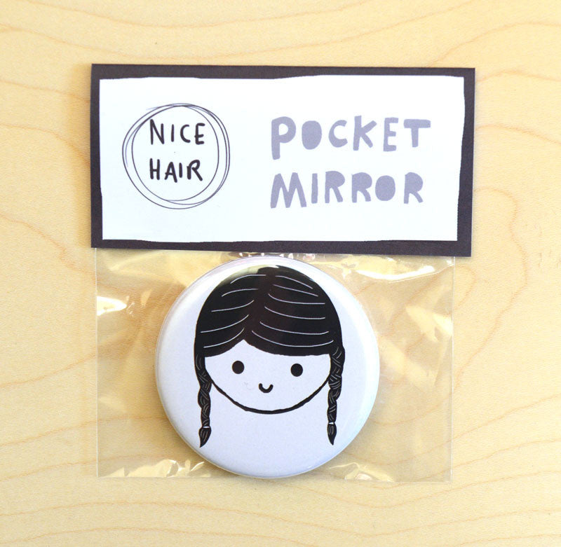 Black Plaits Pocket Mirror