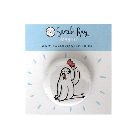 Polite chicken fridge magnet or pin badge