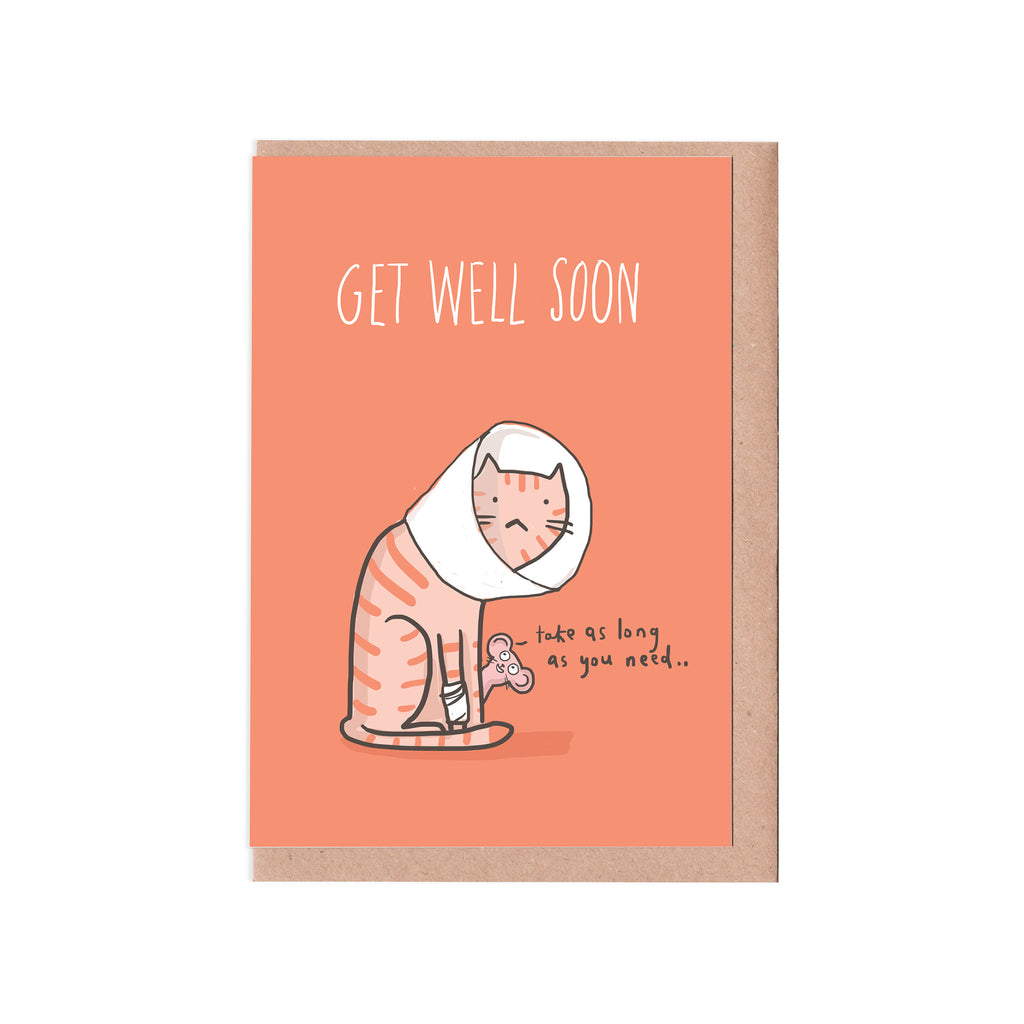 Get well soon cat card