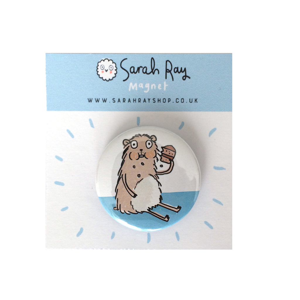 Hungry Hamster Badge or fridge magnet