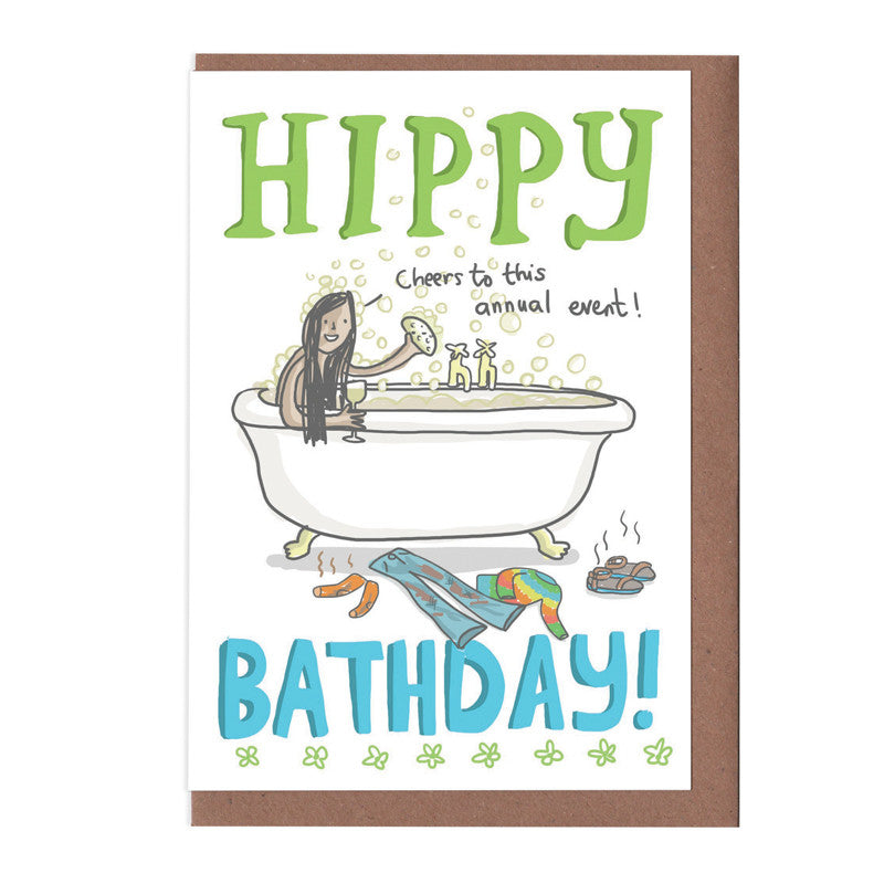 Hippy Bathday Birthday Card