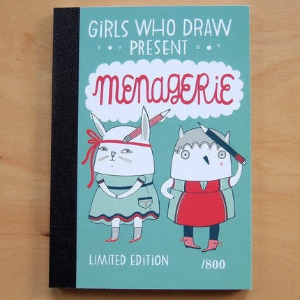 Girls who Draw MENAGERIE postcard book
