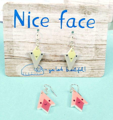 Earrings round and triangle faces