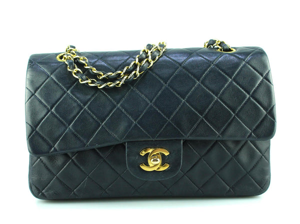 Chanel Vintage Navy Classic Double Flap Medium 1993