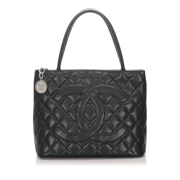 Chanel Vintage Caviar Leather Medallion Tote