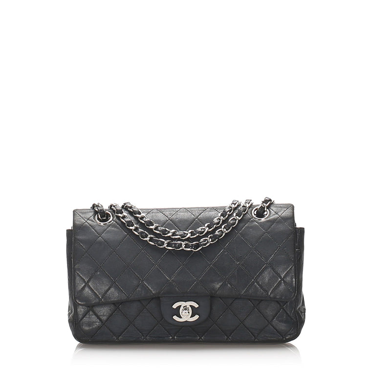 Chanel Vintage Classic Lambskin Double Flap Medium Silver Hardware 2002/03