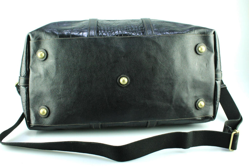 Mulberry Black Printed Veg Tanned Leather Clipper Travel Bag