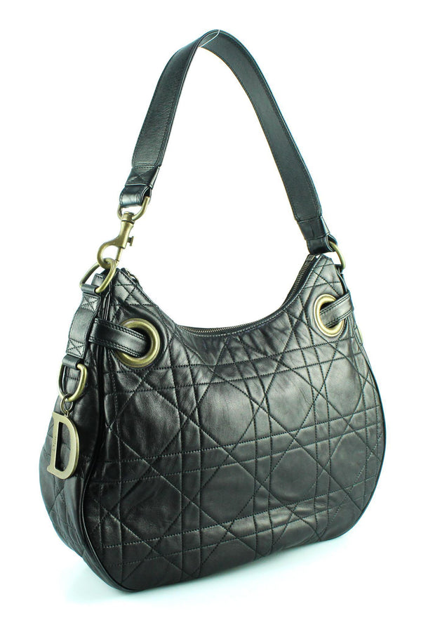 Christian Dior Cannage Stitch Lamb Leather Hobo