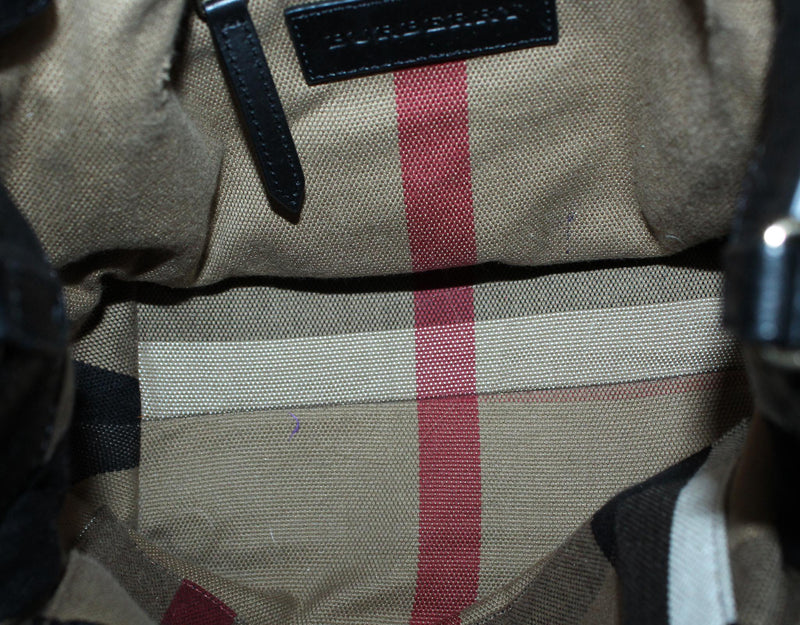 Burberry Brit Leather And Canvas Check Small Maidstone Tote