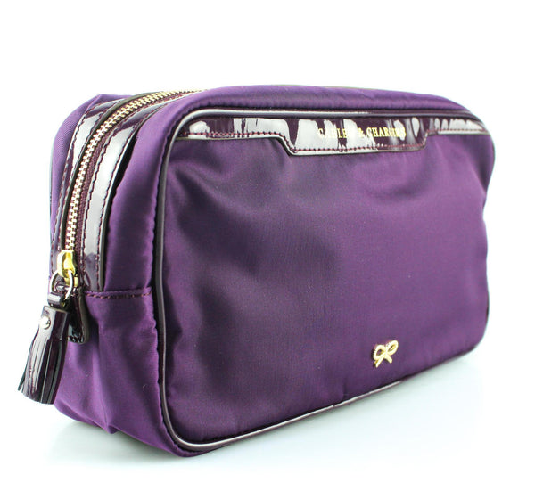 "Anya Hindmarch Cosmetic Case Nylon Plum ""Cables And Chargers"""