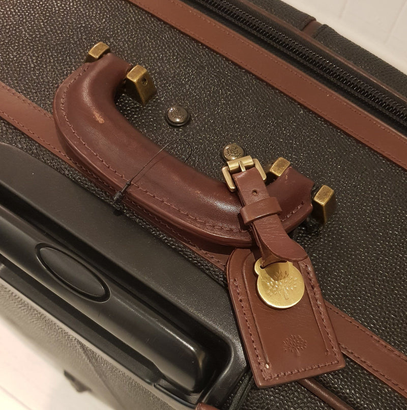 Mulberry Scotchgrain Rolling Suitcase Large With Garment And Shoe Bag 2 Hangers