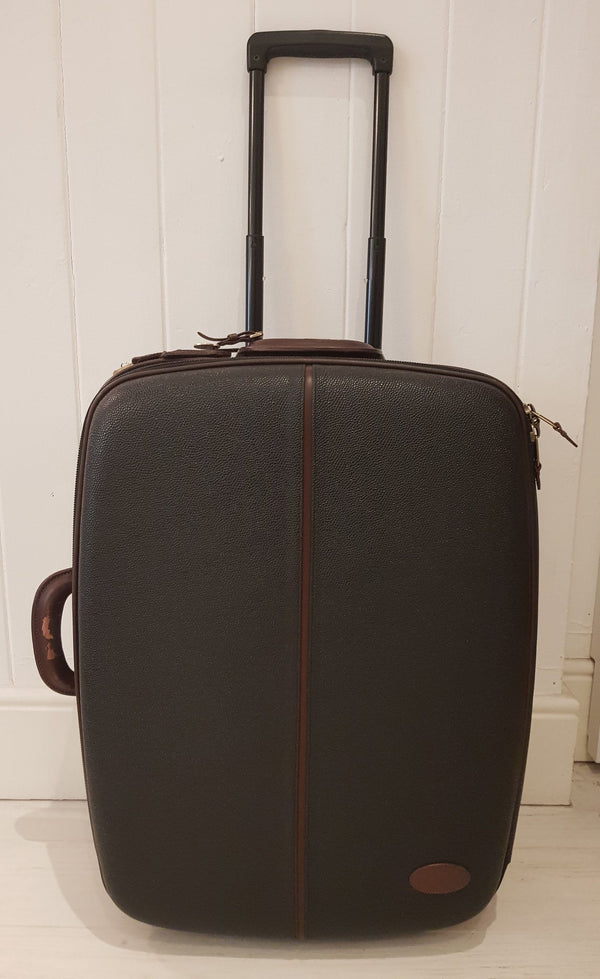 Mulberry Scotchgrain Rolling Suitcase Medium With Garment And Shoe Bag 2 Hangers