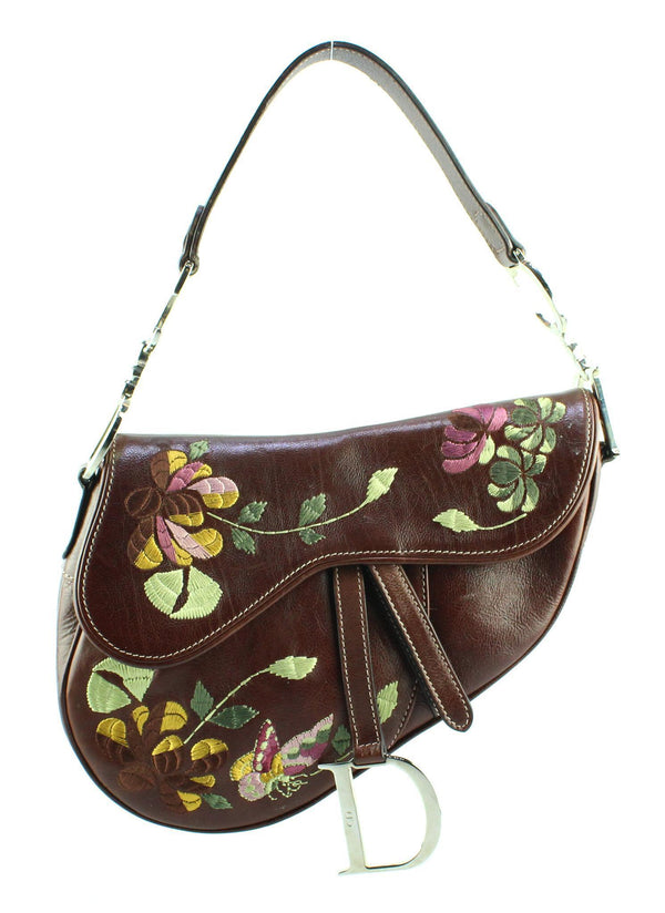 Christian Dior Calfskin Embroidered Romantic Flowers Saddle Bag Brown