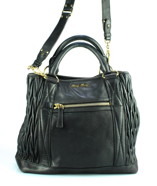Miu Miu Large Black Soft Leather Matelasse Shopper GH