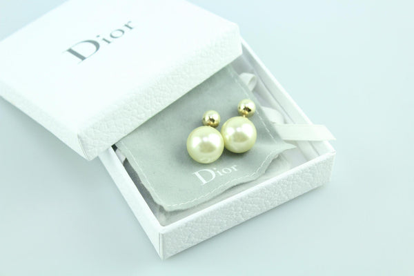 Christian Dior Cream Resin Tribales Earrings RRP €310