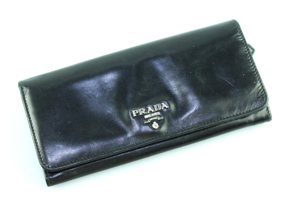 Prada Black Drummed Leather Long Flap Wallet