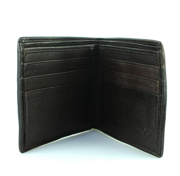 Gucci Mens Signature Web Dark Brown Leather Bifold Wallet