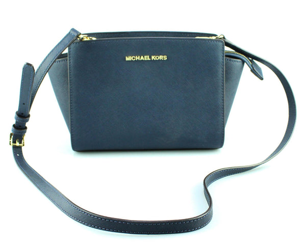 Michael Kors Navy Saffiano Mini Selma Cross Body
