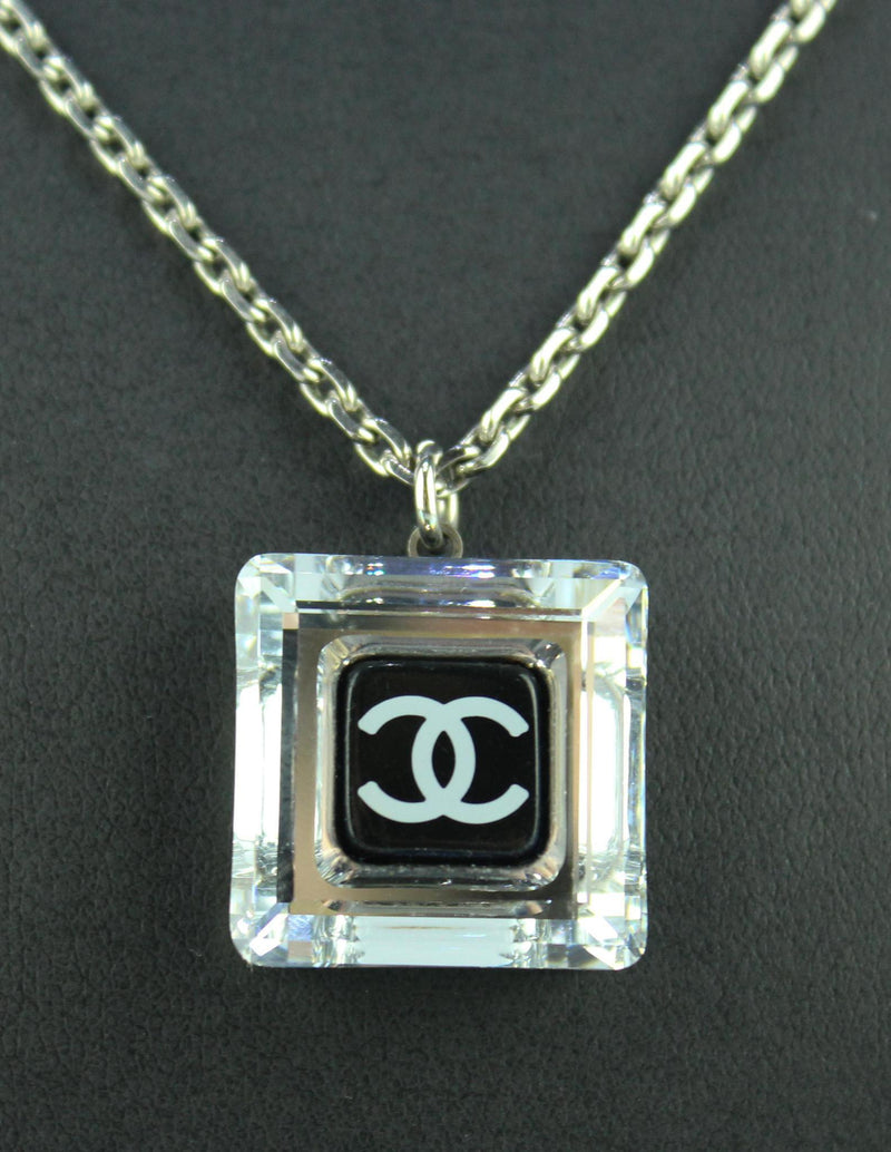 Chanel Resin Clear And Black Square CC Pendant On Chain