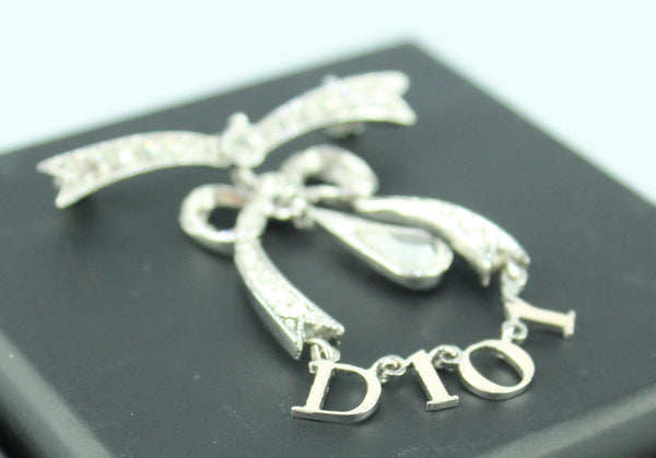 Christian Dior Monogram Silvertone Diamante Bow Brooch