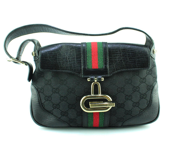 Gucci Web Canvas GG And Black leather Small Shoulder Bag