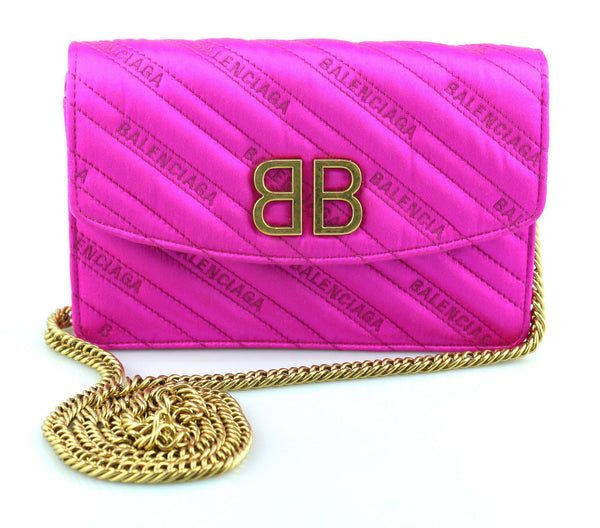 Balenciaga Pink Satin BB Chain Wallet