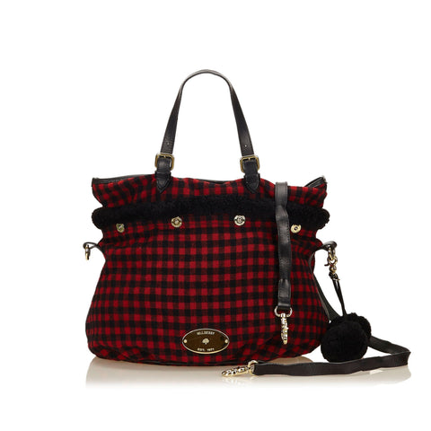 Mulberry Wool Check Mitzy Hobo