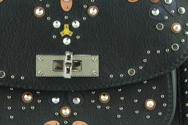 Bally Embellished Grained Leather B Turn Saddle Bag