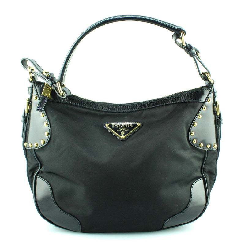 Prada Black Nylon And Leather Studded Hobo GH
