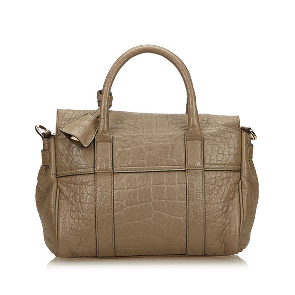 Mulberry Croc Embossed Leather Bayswater Satchel