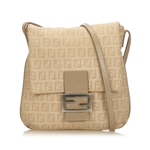 c0513b7b808cf Fendi Brown/Beige Zucchino Canvas Crossbody Bag
