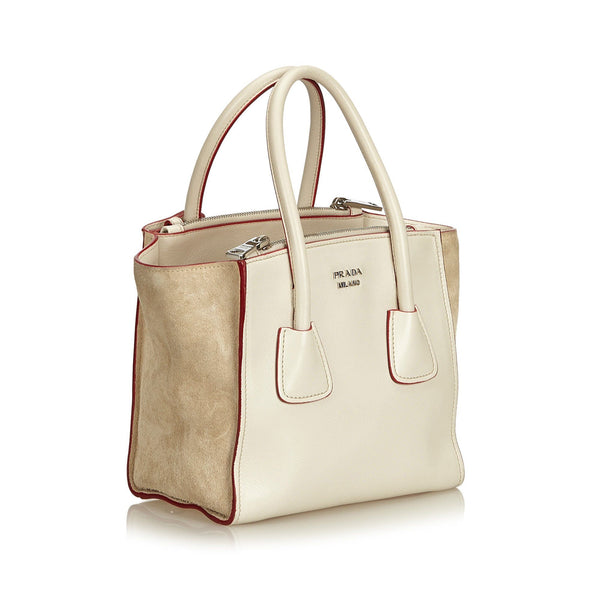 Prada Leather Twin Zip White and Beige Tote With Strap