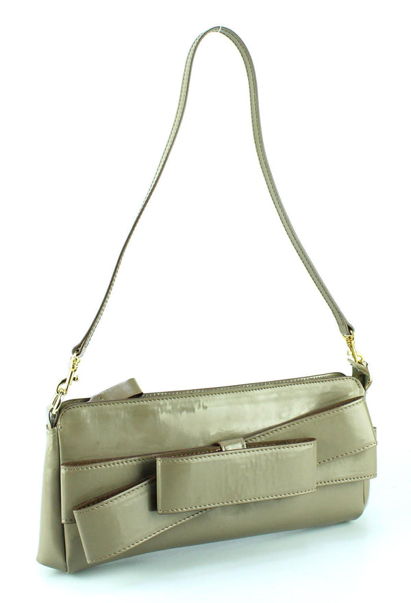 Valentino Garavani Taupe Long Bow Clutch