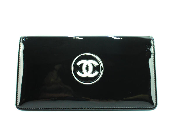 Chanel Black Patent Leather Seasonal CC Yen Wallet 2013