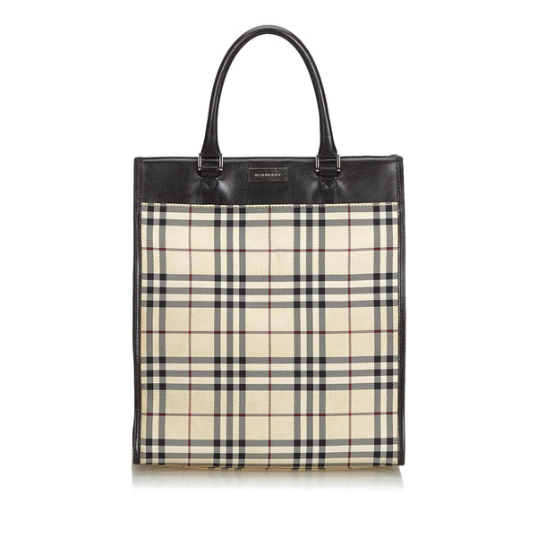 Burberry Vintage Plaid Coated Canvas Handbag