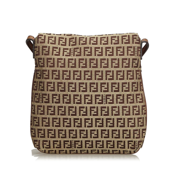 Fendi Dark Brown Jacquard Zucchino Crossbody Bag