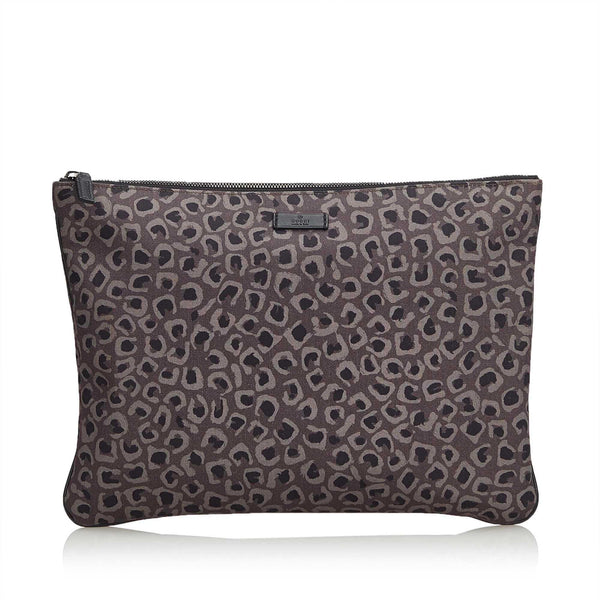 Gucci Leopard Print Nylon Clutch Bag