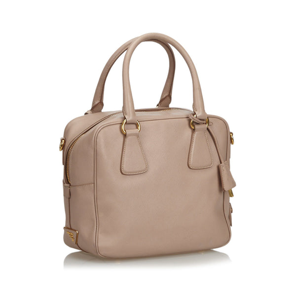Prada Leather Saffiano Beige Satchel